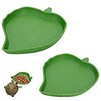 【 Suitable reptile Food Bowl 】- 2 pieces reptile leaf Food Water Bowl Plate Dish in small and large size,good for holding food and water for your small reptiles - yard lizards, turtles, terrapin, tortoise, gecko, sulcatas, bearded dragon, etc; 【 Qual...