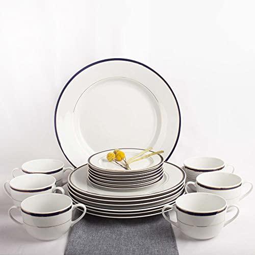 Franquihogar - Vajilla completa blanca con filo de oro y azul cobalto para 6 personas - Set de 19 piezas   platos llanos + 6 tazones de consomé + 6 platos postre + plato presentación   Sonata