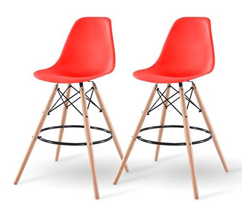 IRIS USA Mid-Century Modern Shell Barstool with Wood Eiffel Legs, 2 Pack, Strawberry Red