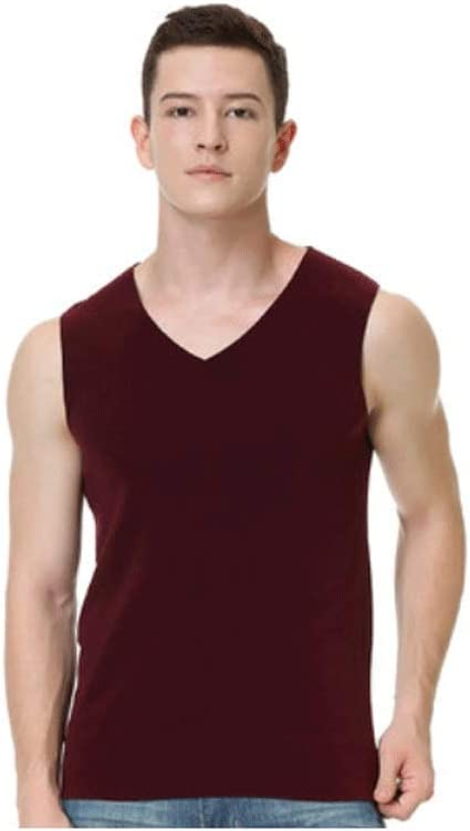 Warm Winter Vest, Men's Lightweight Soft Shell Vest Polyester Sleeveless Inner Wear Vest Suitable for Travel and Work (Color : Wine red, Size : Large)