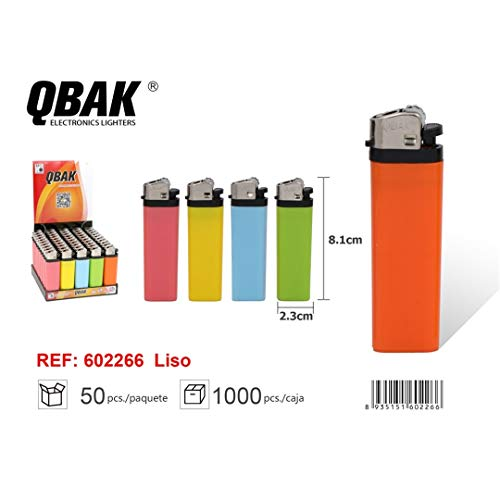 QBAK Siempre Encendedor Color Liso MECHERO AS-208CR Pack 50 Unidades