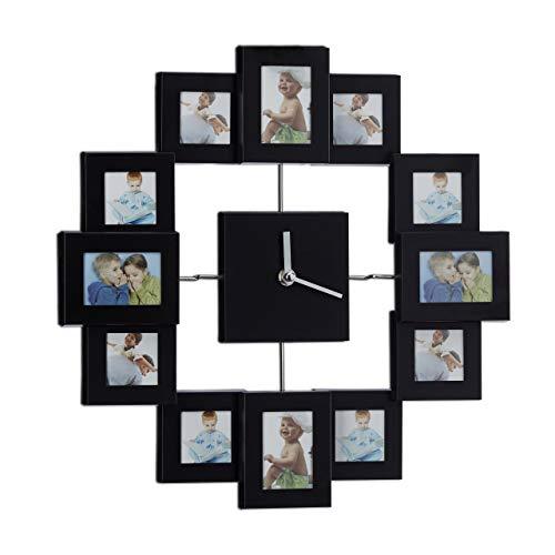Relaxdays Marco de Fotos Múltiple con Reloj de Pared, Plástico y Cristal, Negro, 39x39x4 cm