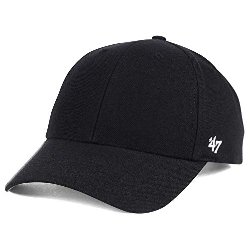 '47 Blank Classic MVP Cap, Adjustable Plain Structured Hat for Men and Women – Black