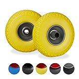 Relaxdays, gelb-grau Sackkarrenrad Set, pannensicher, 3.00-4 Vollgummireifen, Stahlfelge, 25mm Achse, 100 kg, 260x85mm