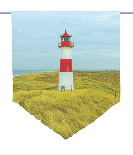 gardinen-for-life Scheibenhänger Leuchtturm Voile Transparent, Edler Scheibenhänger aus Feiner Voile in Verschiedenen Größen (HxB 75x60cm)