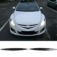 車のヘッドライト保護シェル 車のヘッドライトランプシェード2個カーまぶた眉ヘッドライトは、まつ毛フィット感のためのマツダ6 GH /アテンザ2008年から2012年をカバー (Color : Black)