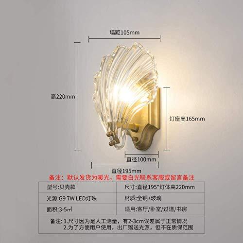 CHOUCHOU Apliques Pared Lámpara de Pared de latón Dormitorio de Noche lámpara de Pared Espejo de baño Frontal de la lámpara de la lámpara del Pasillo de Cobre, Shell