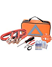 Car Safety Kit, NoOne Multi functional Roadside Assistance Emergency Kits- First Aid Kit, Jumper Cables, LED Warning Light, Orange Strong Bag, Work Gloves, Tools
