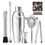 25 oz Cocktail Shaker Bar Set by SIKIWIND, Stainless Steel Martini Shaker, Mixing Spoon, Muddler,...