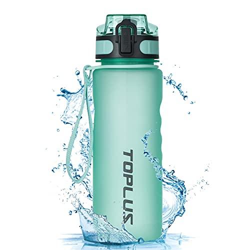 TOPLUS Sport Trinkflasche 500ml Auslaufsicher Tragbare Sportflasche aus Kunststoff Wasserflasche Fahrradflasche für Kinder,Fahrrad, Schule,Camping Freien,Outdoor,Gym [BPA Frei Tritan] (Grün, 500ML)