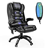 Ergonomic Massage Office Chair with Heated, Faux Leather High Back Executive 6 Pointed Vibrating Computer Gaming Chair with Lumbar Support, Adjustable Back Recline Swivel 360° Desk Chair, Black