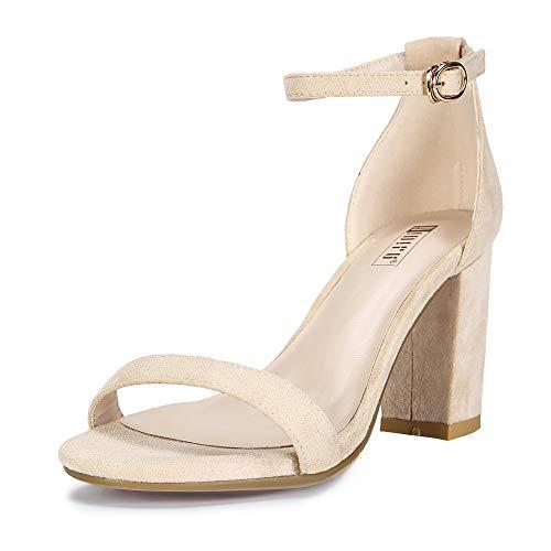 IDIFU Women's Cookie-MI Block Heels Sandals 3 Inch Chunky Open Toe Ankle Strap Wedding Dress Pump Shoes (Nude Suede, 6.5 B(M) US)