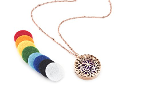 Flower Burst Essential Oil Diffuser Necklace (Rose Gold) - Hypoallergenic 316L Surgical Grade Stainless Steel, 21' Chain + 9 Washable Insert Pads
