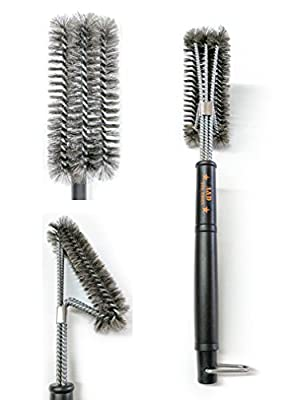 """Grill Brush, 3 in 1 18"""" Best BBQ Grill Brush, Stainless Steel grill cleaning brush, Great Cleaner & Scraper for Grill Cooking Grates, Racks, & Burners"""