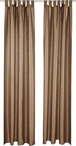 Meradiso® Vorhangschal-Set, 2-teilig, in edler Wildseiden-Optik (braun mit Schlaufen, ca. B 135 x L 245 cm)