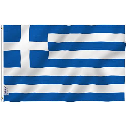 ANLEY Fly Breeze 3x5 Foot Bandeira da Grécia - Cor vívida e resistente ao desbotamento UV - Cabeçalho de lona e costura dupla - Bandeiras nacionais gregas Poliéster com ilhós de latão 3 x 5 pés