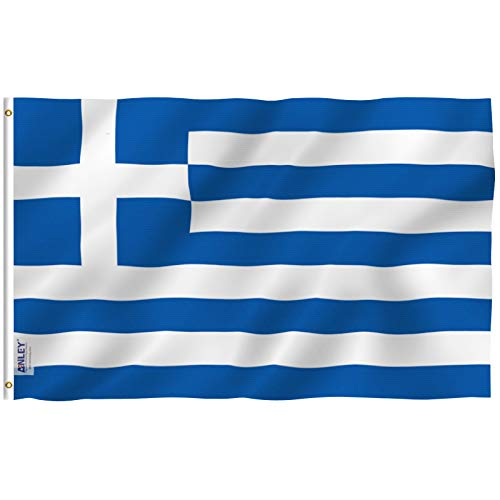 Anley Fly Breeze 3x5 Foot (90 X 150cm) Greece Flag - Vivid Color and UV Fade Resistant - Canvas Header and Double Stitched - Greek National Flags Polyester with Brass Grommets 3 X 5 Ft