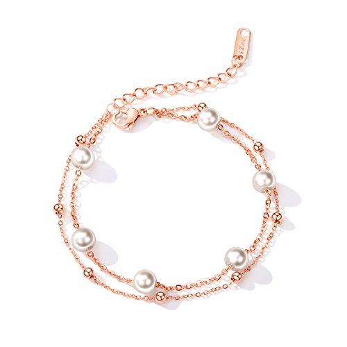 XXX Pulseras para mujer, pulseras de perlas, joyas de múltiples capas chapadas en oro rosa, regalos de cumpleaños