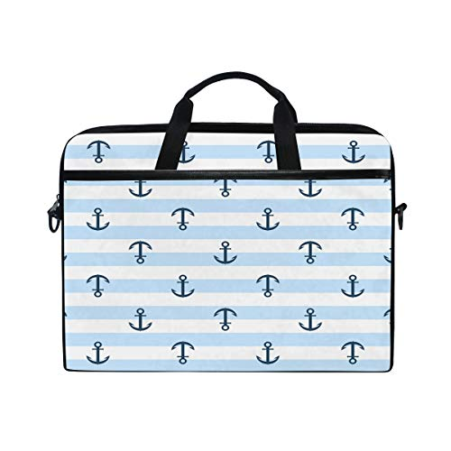 WowPrint Laptop Sleeve, Navy Anchor Laptop Case Shoulder Strap with Handle Portable Notebook Computer Bag for 13 13.3 14 15 inch