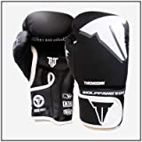 RGXY Kick Boxing Gloves para Hombres Mujeres Karate Muay Thai Guantes Fight Fighting Adultos,Negro,8OZ