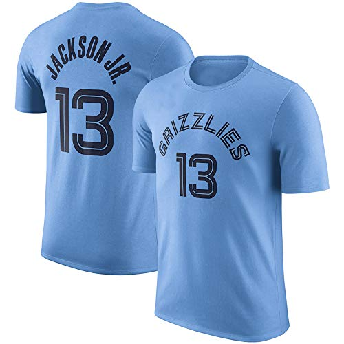 Ordioy Camiseta para Hombre, NBA Memphis Grizzlies # 13 Jaren Jackson Basketball Fans Jerseys, Sudadera De Entrenamiento De Manga Corta para Hombres, Uniformes Deportivos, Tops,Azul,S(160~165CM)
