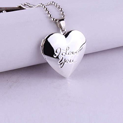 Preisvergleich Produktbild Stilvoll Herzförmige Foto Bilderrahmen Medaillon Anhänger Halskette Hochzeitsgeschenk (4 4) - 2
