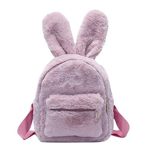 Damen Kunstfell-Mini-Rucksack, niedliche Hasenohren, Schultertasche, Geldbörse, Plüsch Pink rose 9.84