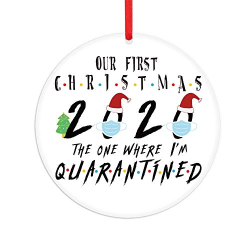 FaCraft Quarantined Christmas Ornament 2020 , 3.5' Our First Christmas Ornaments, The One Where I'm Quarantined, Pandemic Christmas Ornament for Christmas Tree Decorations