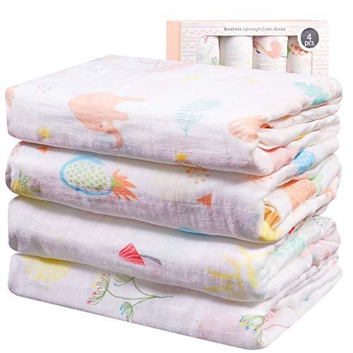 Viviland Mantas de Muselina de Bambú Algodón,Muselinas Pack de 4,Mantitas para Bebes 120x120 cm, Flamingo, Conejo, Piña, Diente De León