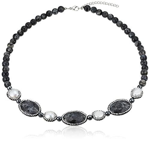 [ピュアパール] pure pearl 淡水パール&ヘマタイトネックレス PPY6052N