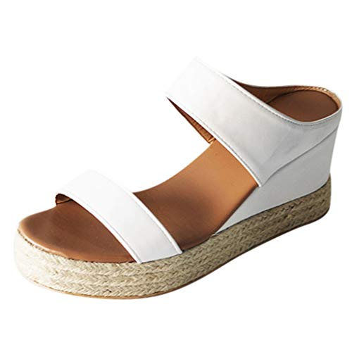 Sommer Frauen Open Toe Atmungsaktive Strandsandalen Slip-On Stroh Casual Wedges Schuhe