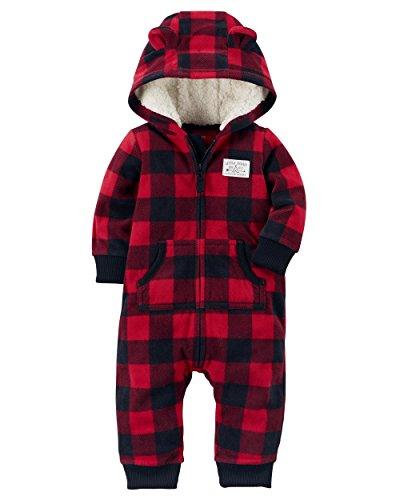 Carter's Baby Boys Fleece Hooded Romper Jumpsuit, Red/Black Plaid, 3 Months