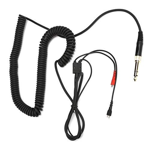 Cable de audio en espiral para auriculares con adaptador para Senn-heiser HD25 / HD560 / HD540 / HD430 / HD250, cable de audio para auriculares con cable de cobre desnudo Plug and Play con micrófono