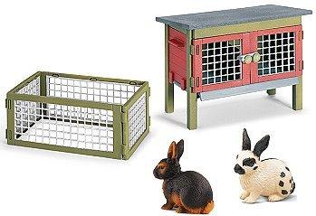 Schleich - Kaninchen Set - 42019 Kaninchenstall 13137 Kaninchen schwarz/braun 13121 Kaninchen schwarz/weiß
