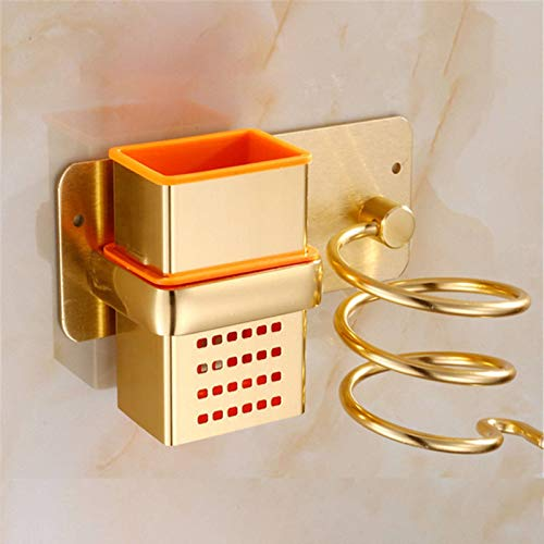 Lzcaure Soporte para secador de pelo, accesorios de baño, secador de pelo, estante para secador de pelo, para baño o ducha (tamaño: 9,5 x 9 x 7 cm, color: dorado)