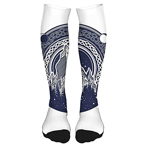 2021 High Socks Cotton the Knee Socks Mountains Celtic Style Great Outdoors Symbol of Adventure and Camping Long Knee High Socks for unisex 60cm