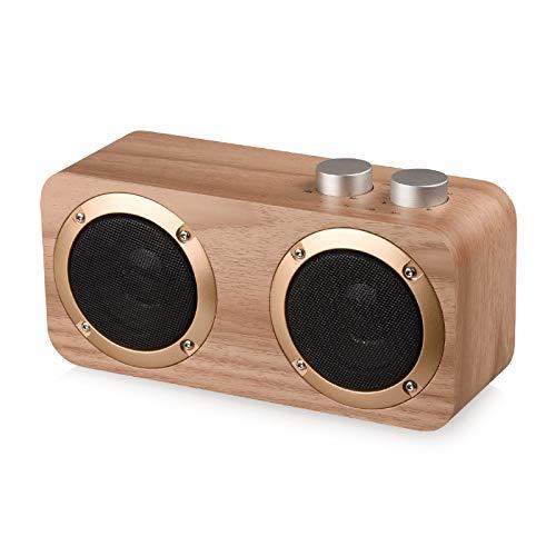 JHMAOYI Lautsprecher Neue Holz Bluetooth Lautsprecher Tragbare Retro-Karte Subwoofer Dual Speaker Mini Desktop Bluetooth Lautsprecher