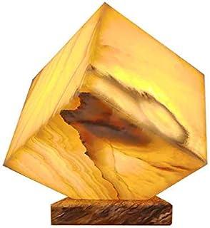 """Lampada a cubo 20cmx20cm in marmo di onice """"Miel"""""""
