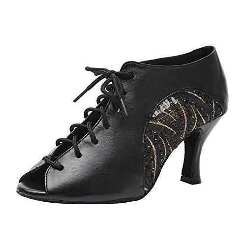 HIPPOSEUS Zapatos de Baile Latino con Cordones para Mujer - Salón de Baile Fiesta Práctica de Baile Botas de Rendimiento Tacón Alto,Negro,35 EU