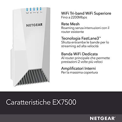 Netgear EX7500 Ripetitore WiFi Mesh AC2200, Copertura per 4-5 Stanze e 20 Dispositivi, Tri-Band fino a 2200 Mbps, Funzionalità Mesh con Modem Fibra e ADSL