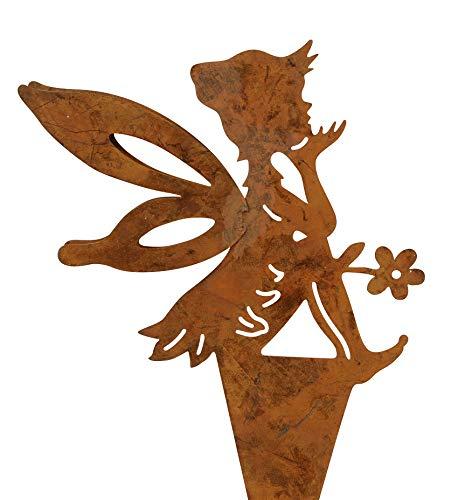 dekorativer Deko-Stecker Garten-Stecker Pick Elfe Fee Blumenkind Metall edelrost