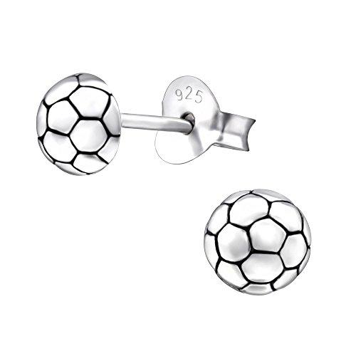 Laimons Mädchen Kids Kinder-Ohrstecker Ohrringe Kinderschmuck Fußball Handball Ball oxidiert aus Sterling Silber 925