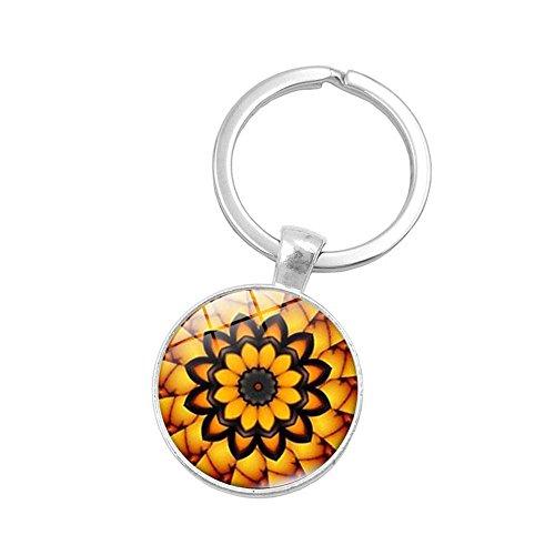 UmerBee - Llavero con diseño de flor de mandala, 1 unidad, llavero con gemas de tiempo, llavero con soporte para regalo