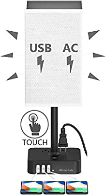 Alimentata Touch Control Bedside Table Lamp with 3 USB Charging Port and 2 AC Outlet, Minimalist LED Desk Night Light with Charger Base White Fabric Shade for Bed Room/Nightstand/Office