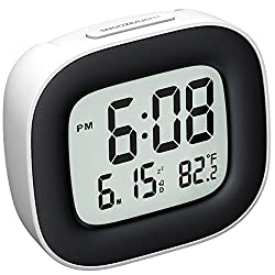 Mpow Travel Alarm Clock, Digital Clock with Snooze, Backlit, Temperature, Date, Simple Basic Operation, Bedside Digital Clock Battery Powered for Bedroom, 12/24H (1.White)