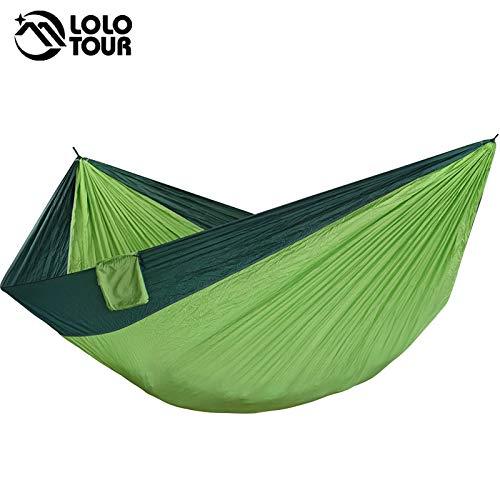 Bureze 2–3 Personnes Camping Hamac Tente King Size Hamac Vert balançoire Hamac Fauteuil Suspendu de Couchage Hamac Lit 320 * 200 cm