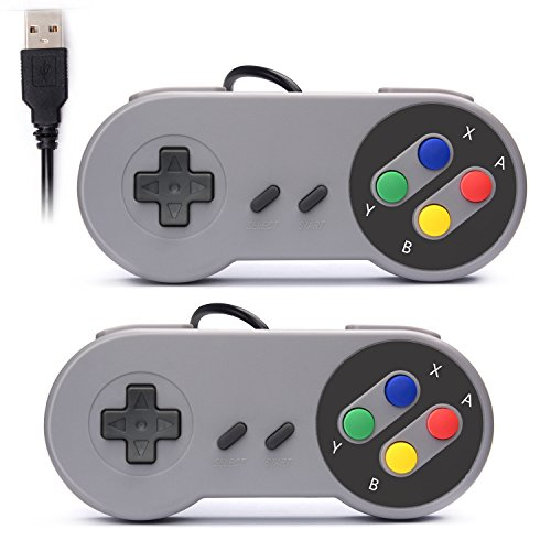 Rii Gaming GP100 - Coppia di Gamepad Controller USB Super Nintendo compatibili con PC (Windows, Mac, Linux) e Raspberry Pi