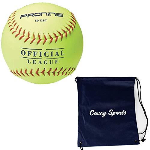 ProNine 8 and Under Softballs 10 Inch for 8U/6U Girls (6-Balls) Bundled With Covey Sports Drawstring Bag (Blue Bag)