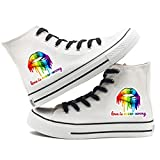 Godmoy Scarpe di Tela Arcobaleno Donna Sneakers LGBT Colorate Scarpe Alte da Tennis per Uomo Casual Gay Pride Scarpe da Tennis con Lacci