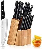 Juego de cuchillos con bloque,15 piezas de cuchillos de cocina con soporte de bloque de pino, juego de bloques de cuchillos con sacapuntas, cuchillos de acero inoxidable de alto agarre cómodo ABS